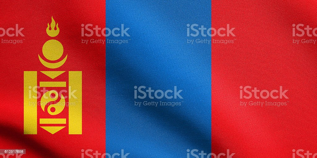 Flag of Mongolia waving with fabric texture stock photo