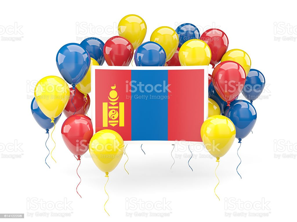 Flag of mongolia with balloons stock photo
