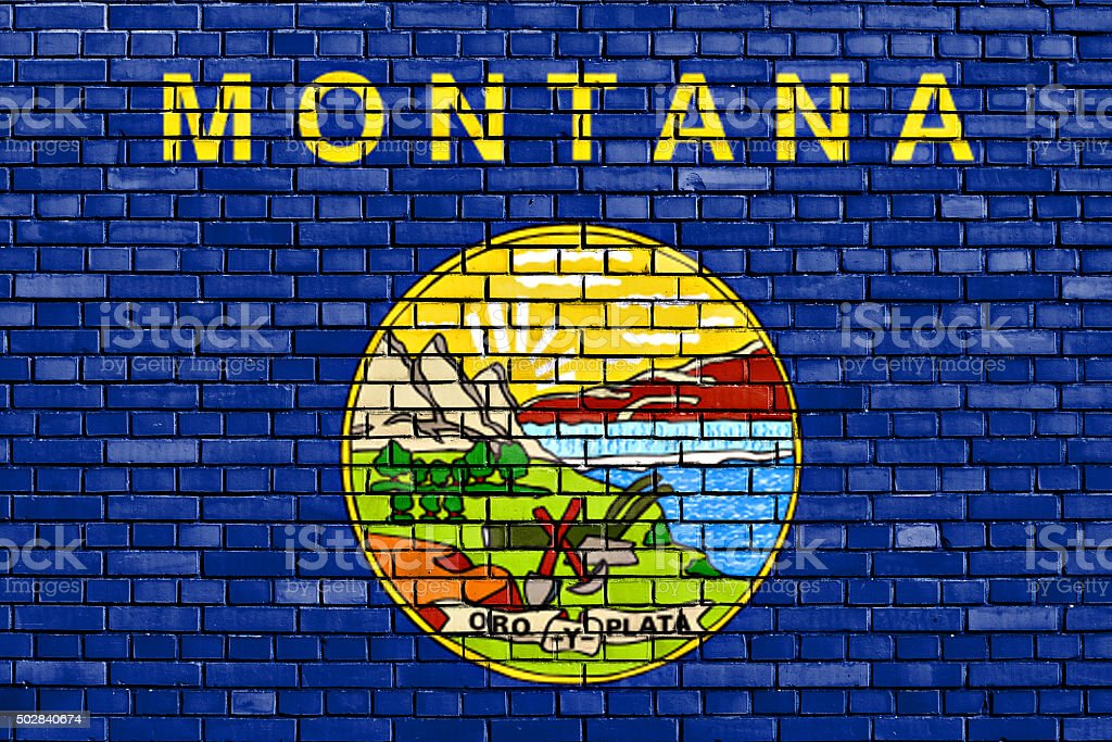 flag of Montana painted on brick wall stock photo