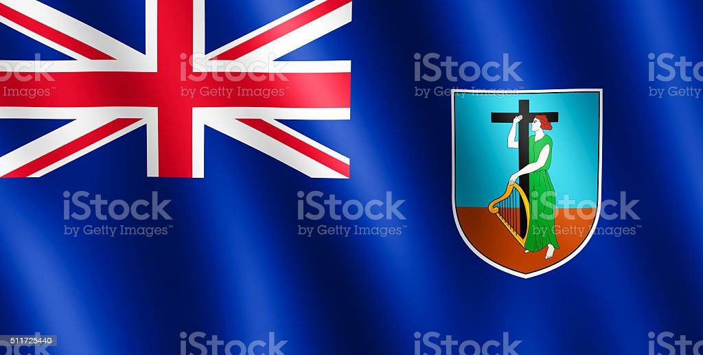 Flag of Montserrat waving in the wind stock photo
