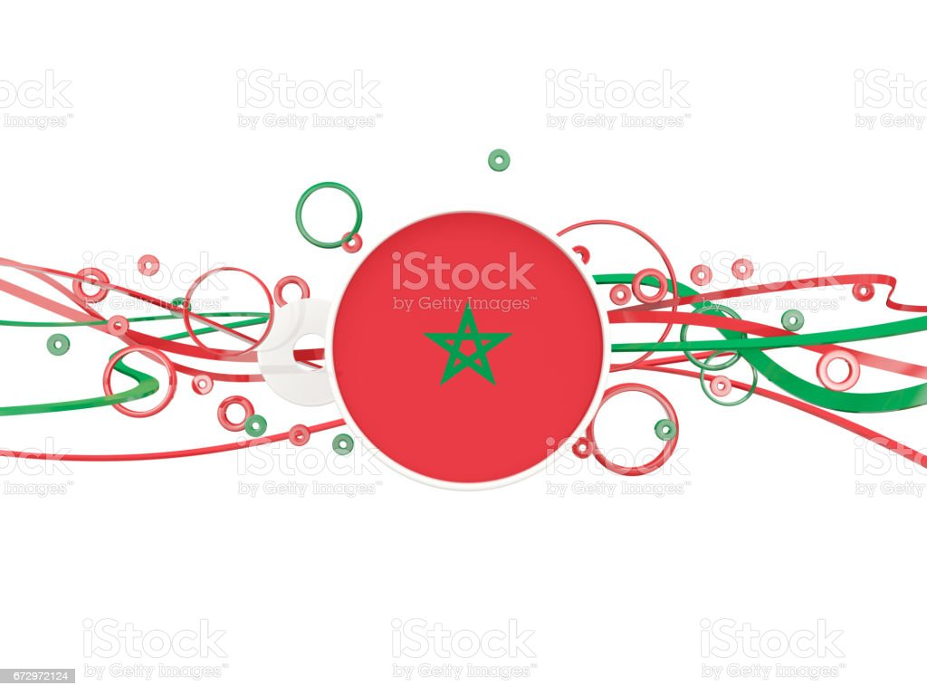 Flag of morocco, circles pattern with lines stock photo