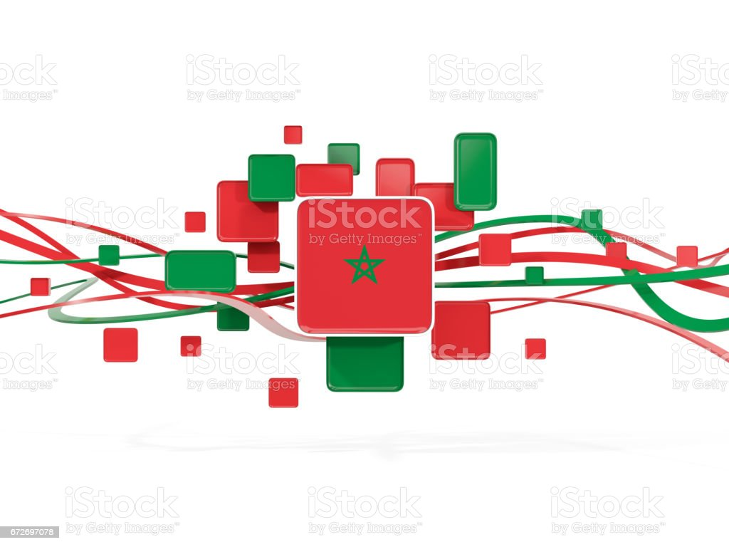 Flag of morocco, mosaic background with lines stock photo