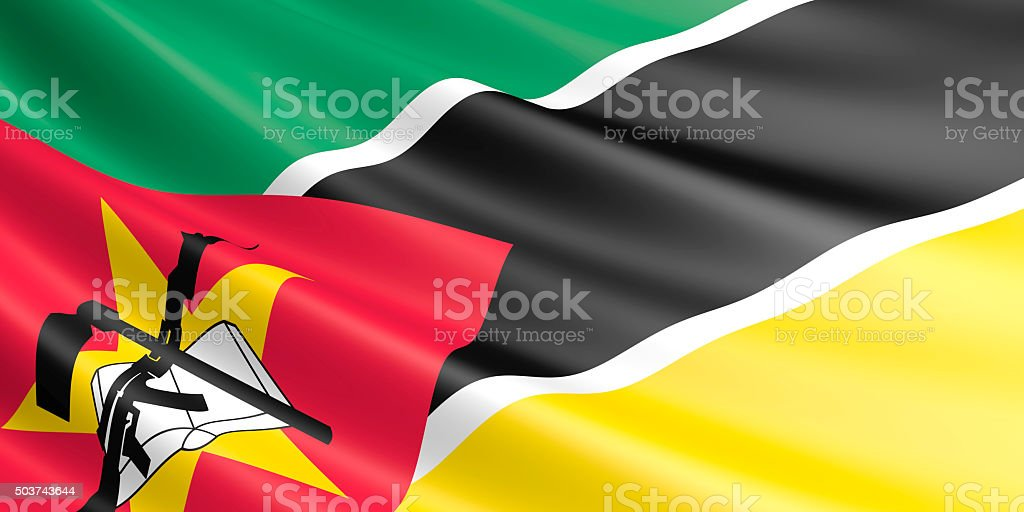 Flag of Mozambique waving in the wind. royalty-free stock photo