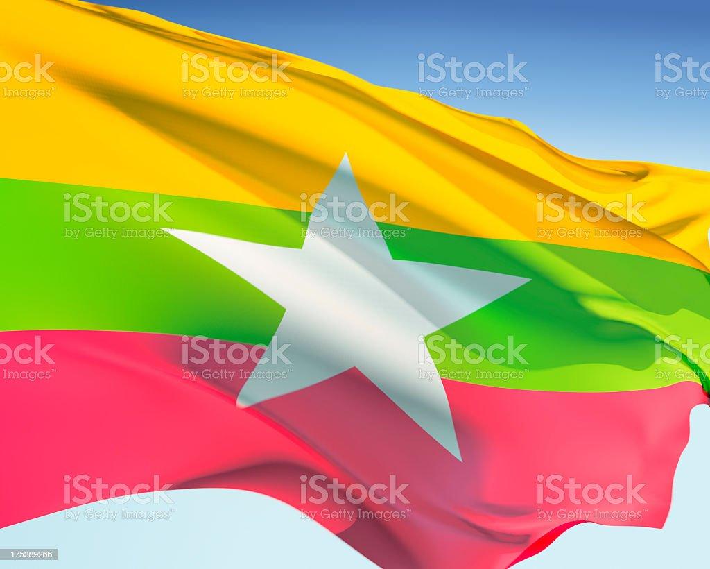 Flag of Myanmar (Burma) stock photo
