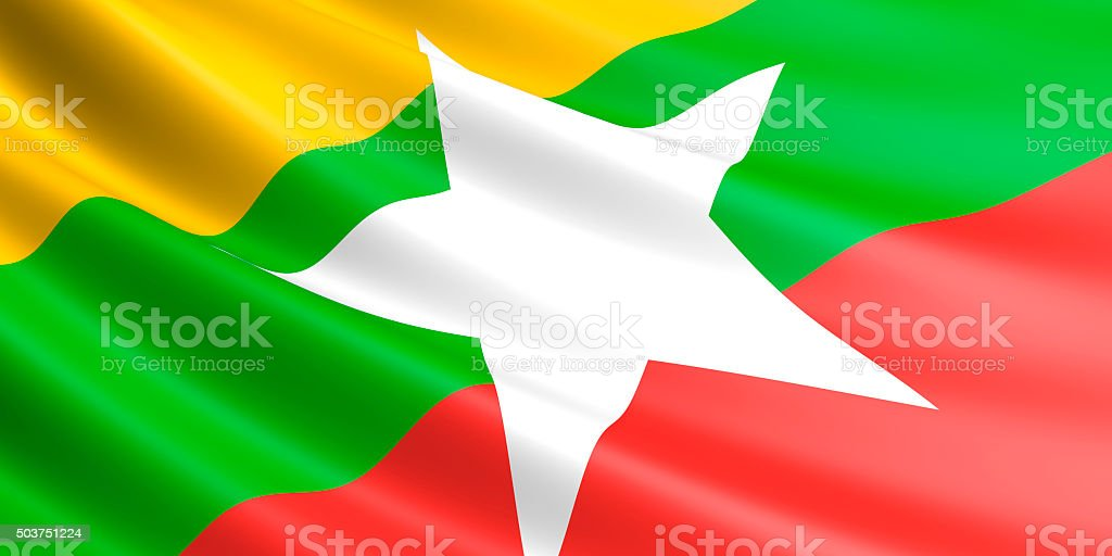 Flag of Myanmar waving in the wind. stock photo