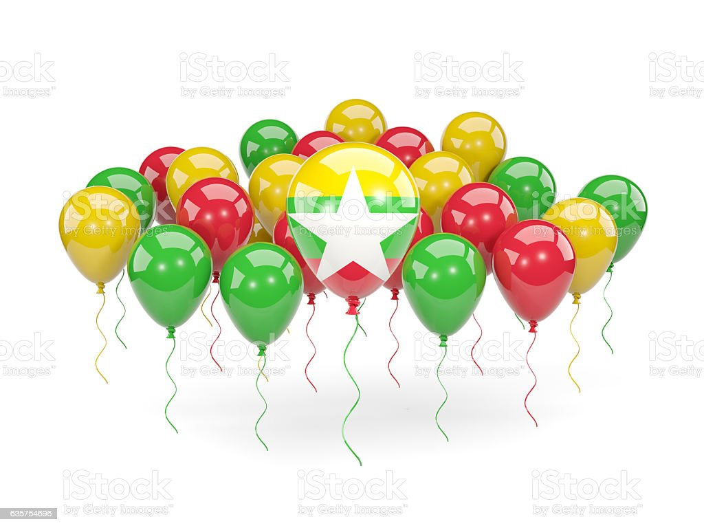 Flag of myanmar with balloons stock photo