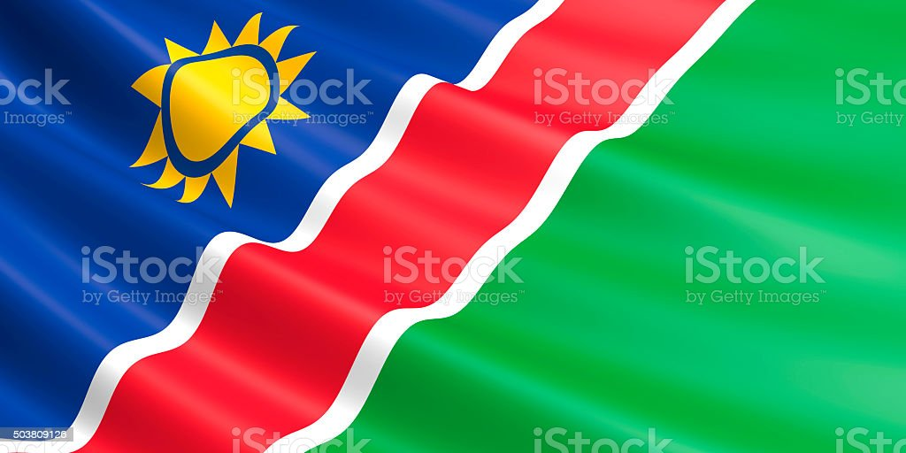 Flag of Namibia waving in the wind. royalty-free stock vector art