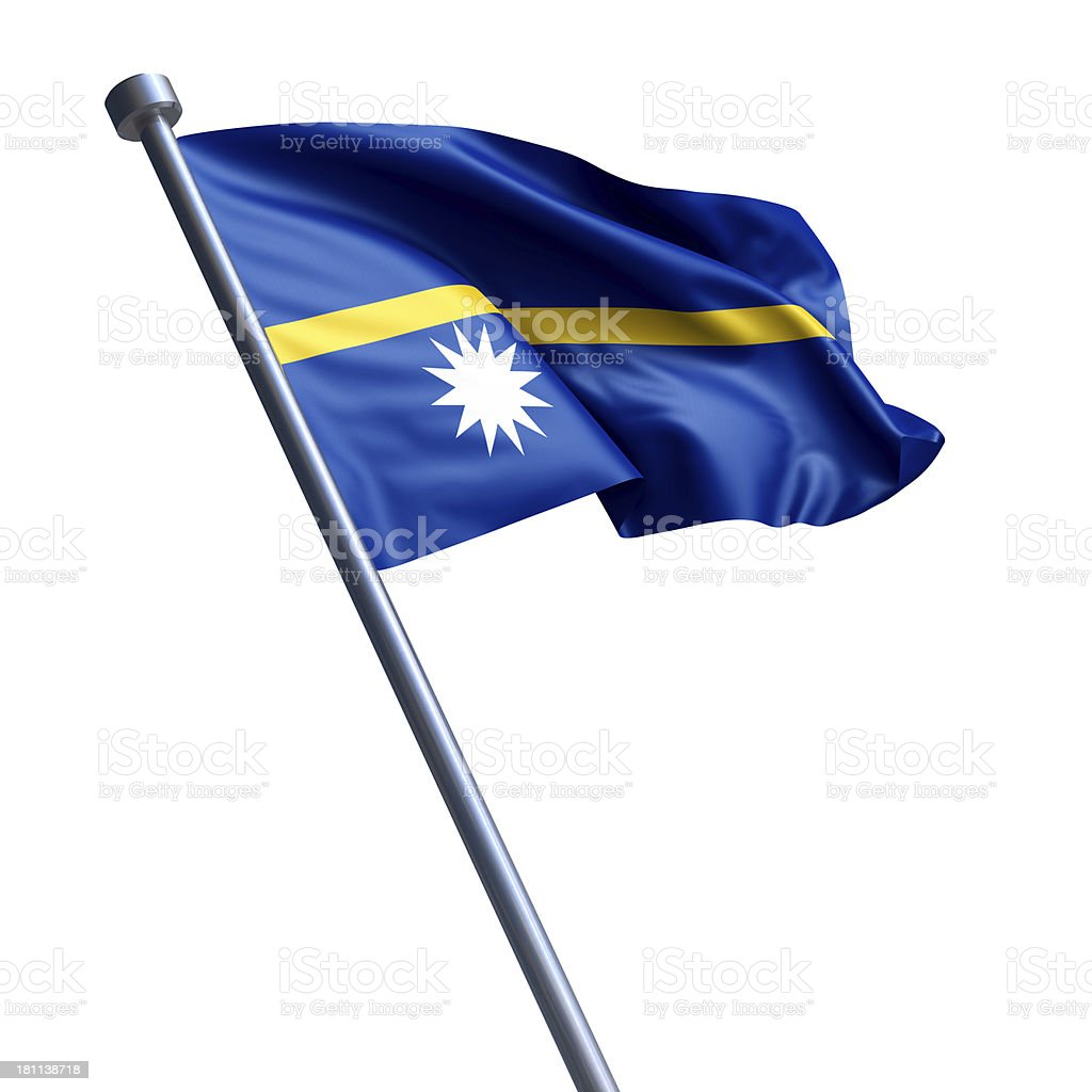Flag of Nauru isolated on white stock photo