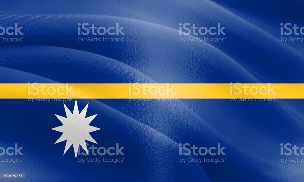 Flag of Nauru with a cloth texture and subtle highlights stock photo