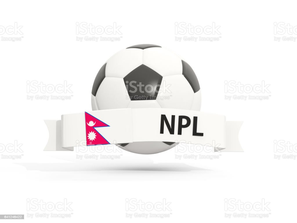 Flag of nepal, football with banner and country code stock photo