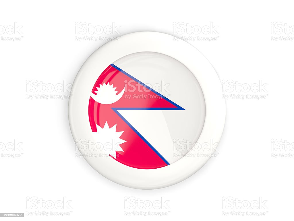 Flag of nepal, glossy round button stock photo