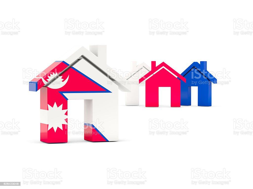 Flag of nepal, home icon stock photo