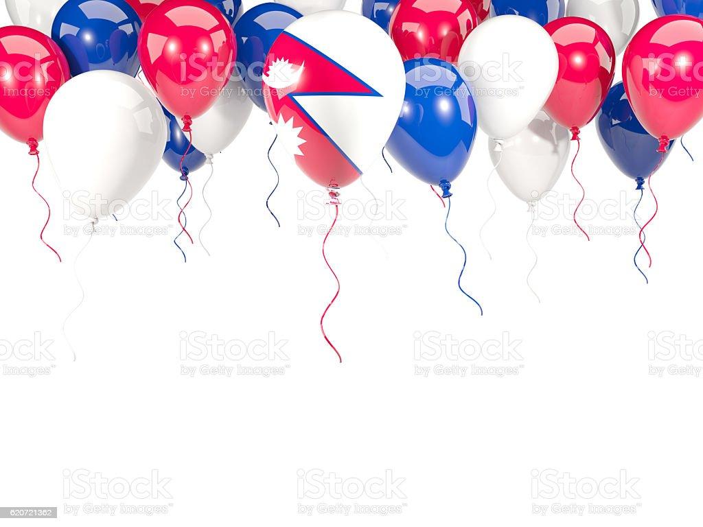 Flag of nepal on balloons stock photo