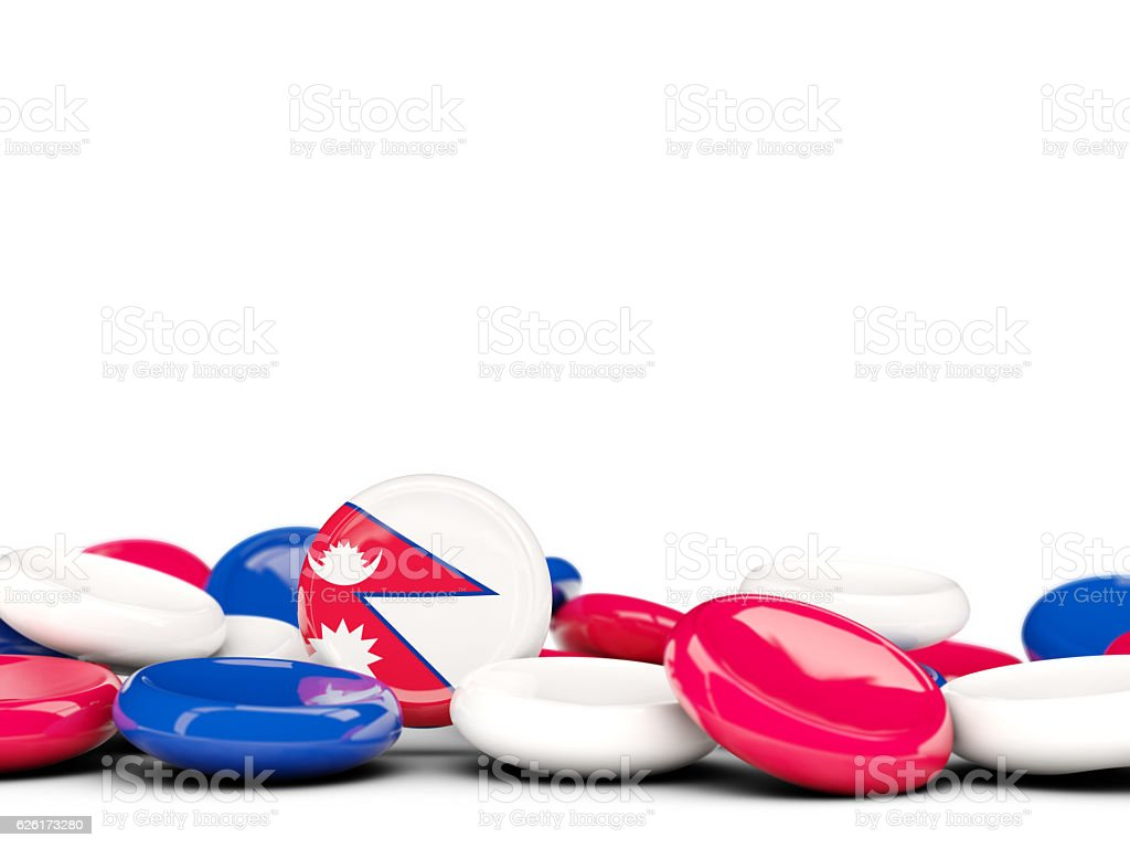 Flag of nepal, round buttons stock photo