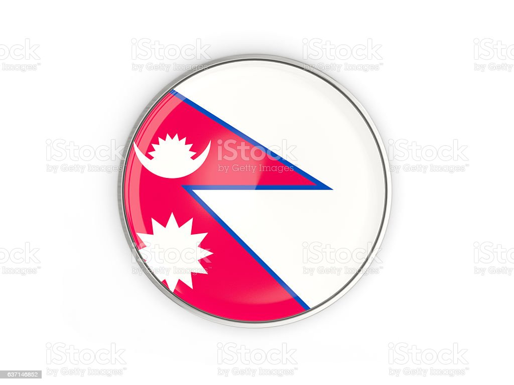 Flag of nepal, round icon with metal frame stock photo