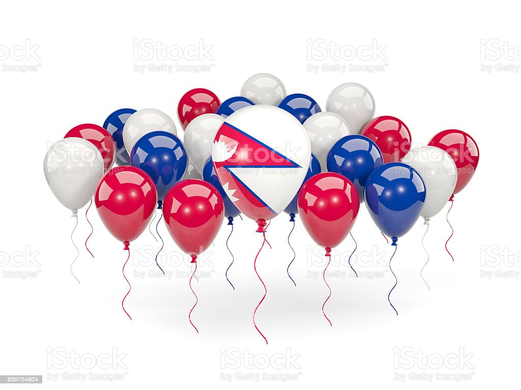 Flag of nepal with balloons stock photo