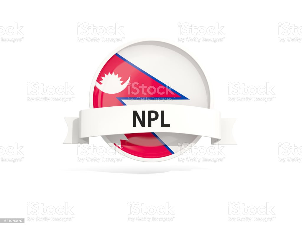 Flag of nepal with banner stock photo