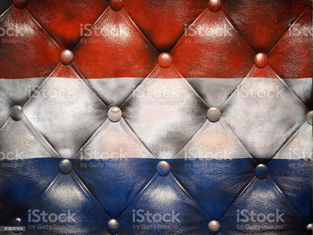 Flag of Netherlands on capitone checkered coach leather stock photo