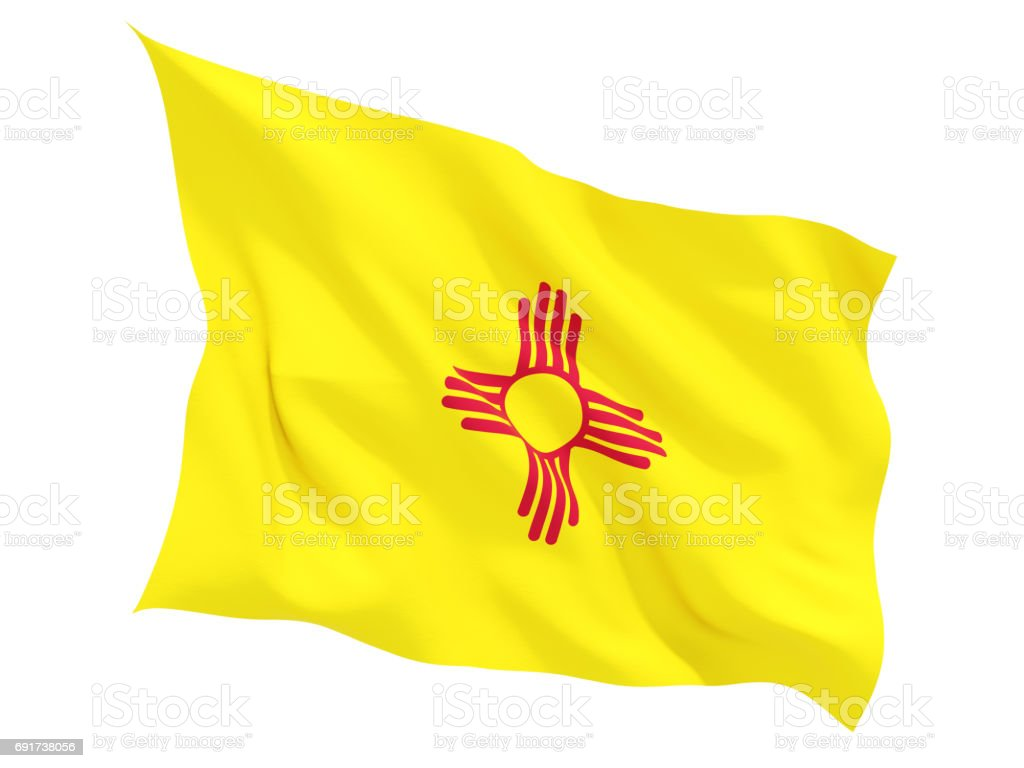 Flag of new mexico, US state fluttering flag stock photo