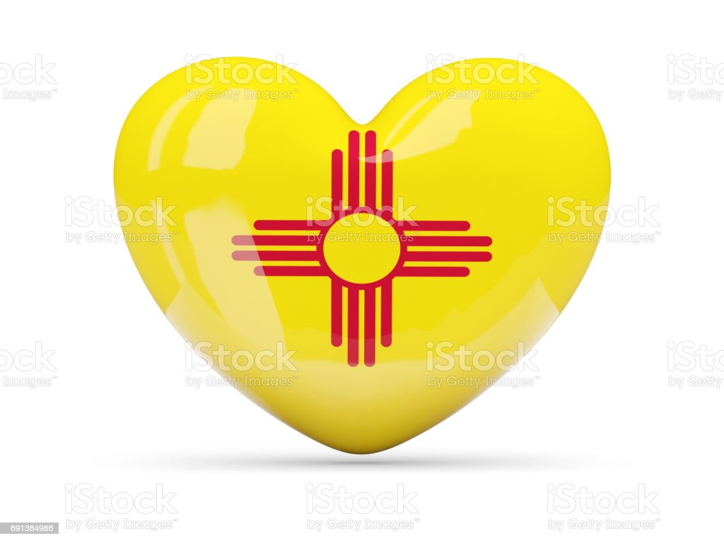 Flag of new mexico, US state heart icon stock photo