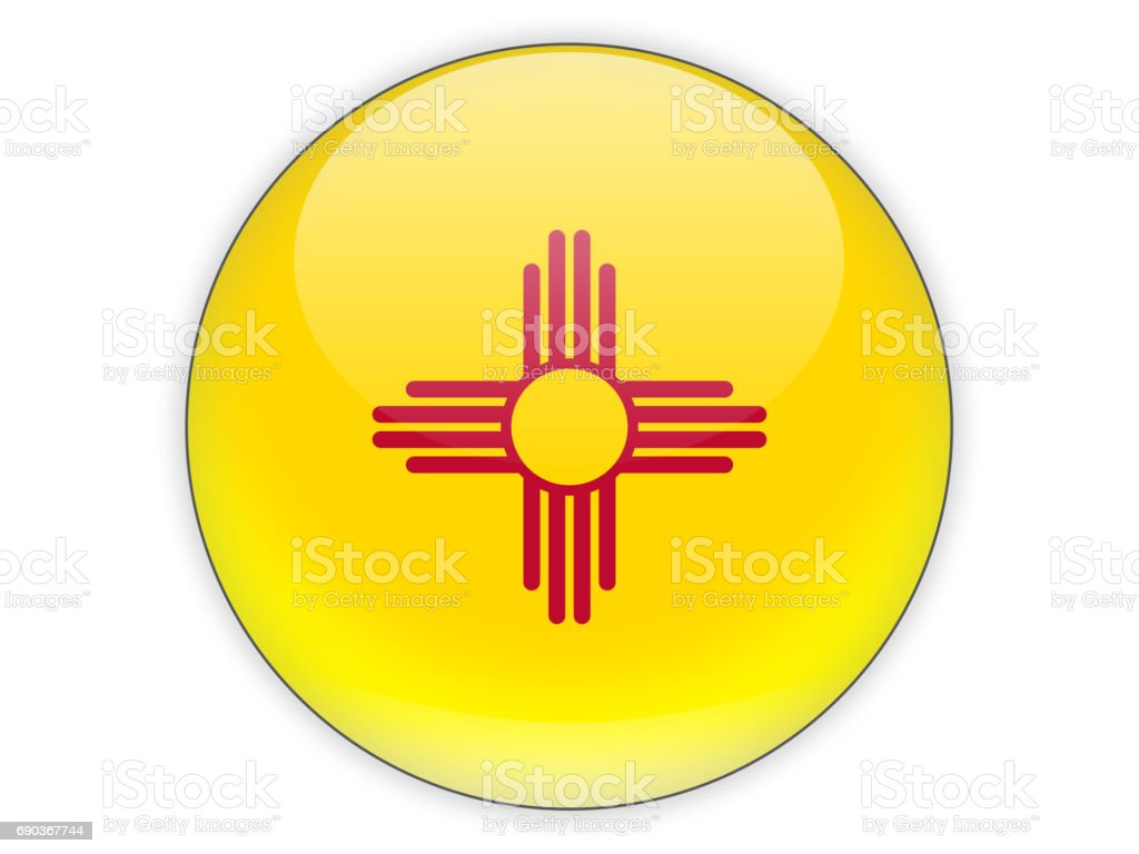 Flag of new mexico, US state icon stock photo