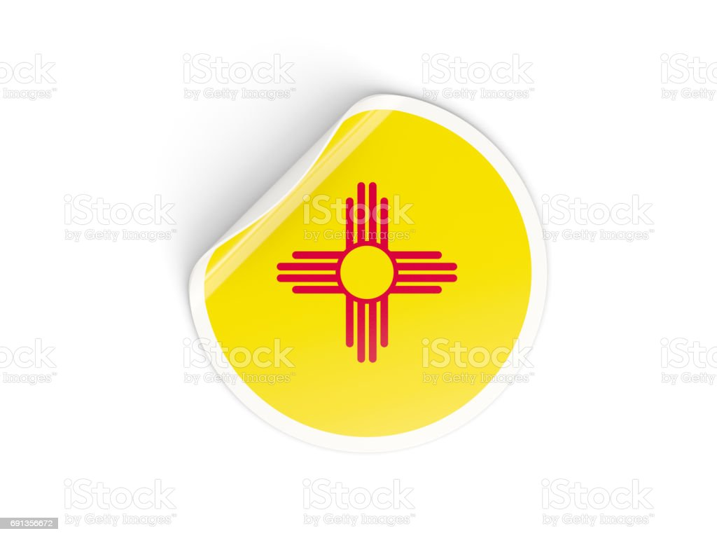 Flag of new mexico, US state round sticker stock photo