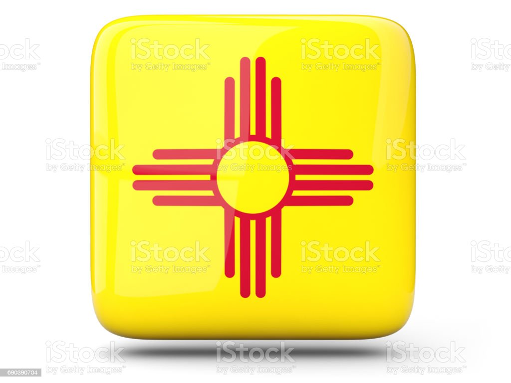 Flag of new mexico, US state square icon stock photo