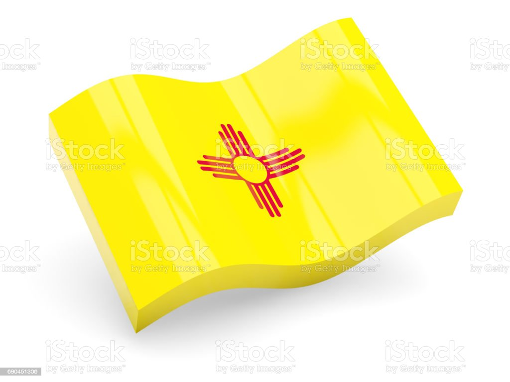 Flag of new mexico, US state wave icon stock photo