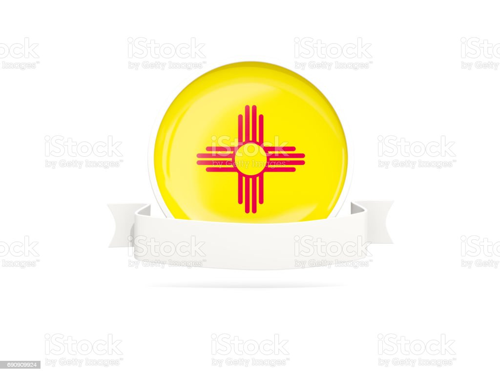 Flag of new mexico with banner, US state round icon stock photo