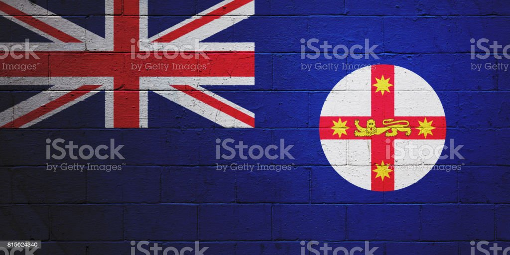 Flag of New South Wales painted on a wall stock photo