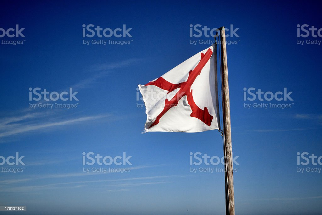 Flag of New Spain flying over Fort Matanzas royalty-free stock photo