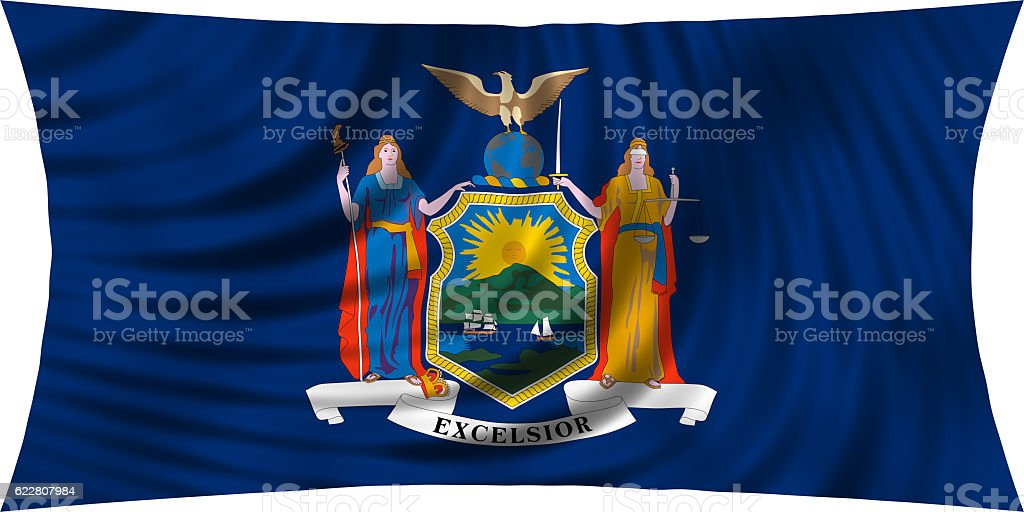 Flag of New York state waving isolated on white stock photo