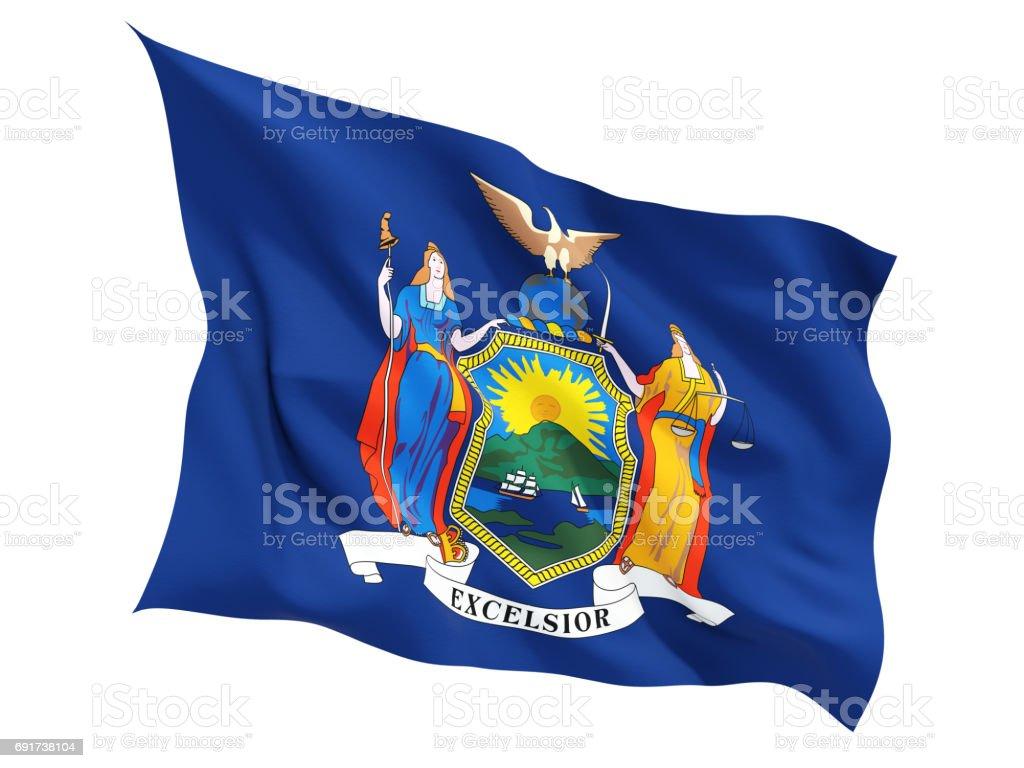 Flag of new york, US state fluttering flag stock photo