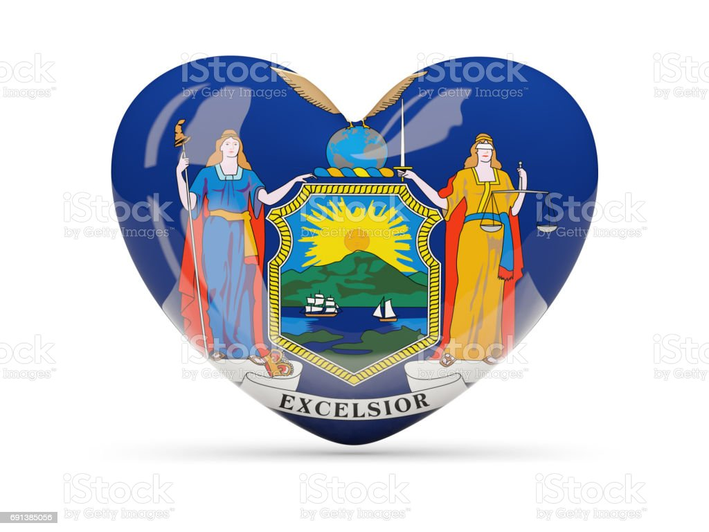 Flag of new york, US state heart icon stock photo