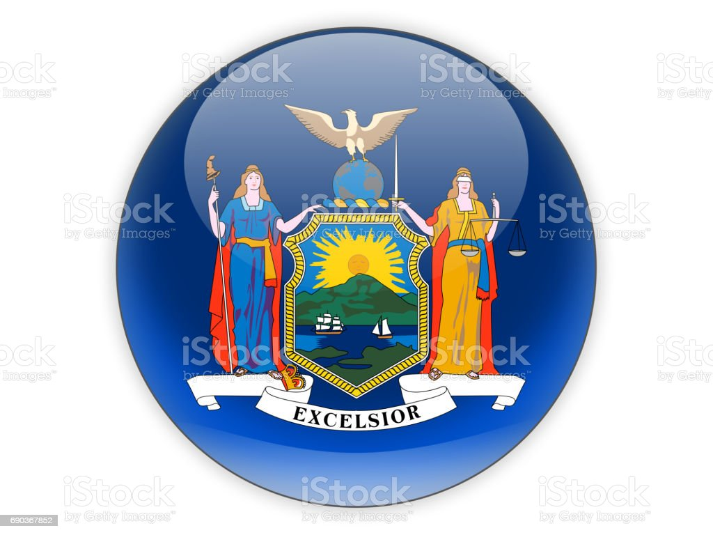 Flag of new york, US state icon stock photo