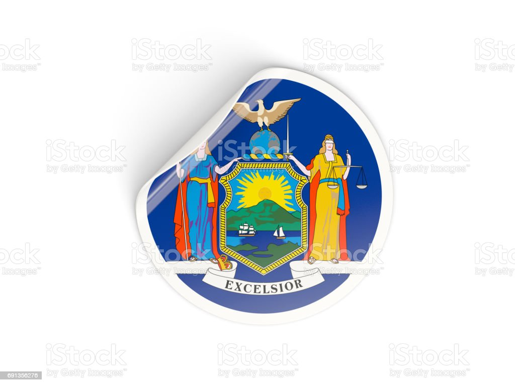 Flag of new york, US state round sticker stock photo