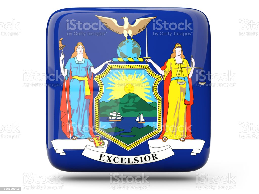 Flag of new york, US state square icon stock photo