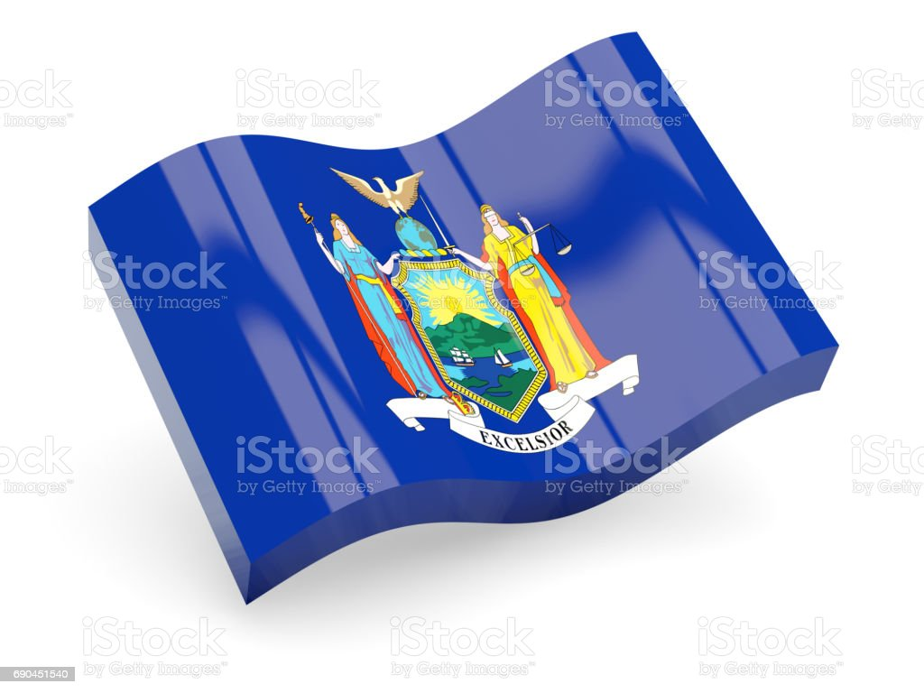 Flag of new york, US state wave icon stock photo