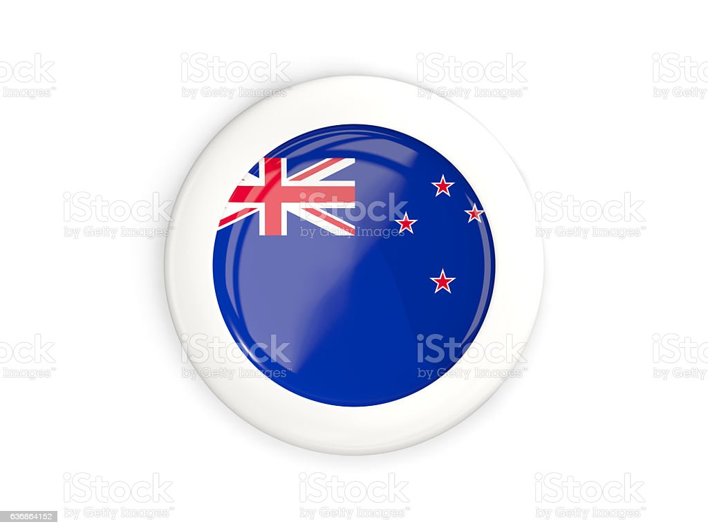 Flag of new zealand, glossy round button stock photo
