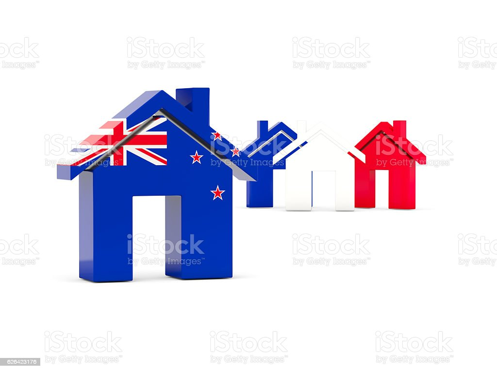 Flag of new zealand, home icon stock photo