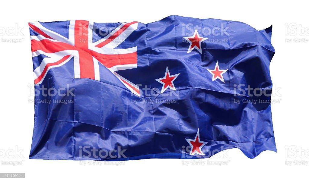 Flag of New Zealand, isolated on white stock photo