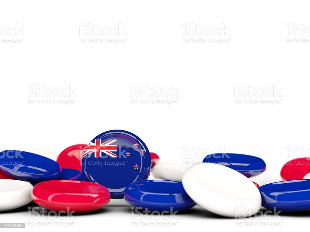 Flag of new zealand, round buttons stock photo