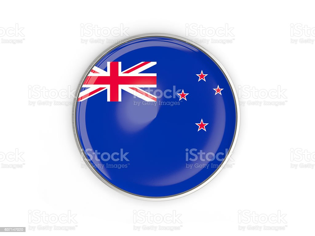Flag of new zealand, round icon with metal frame stock photo