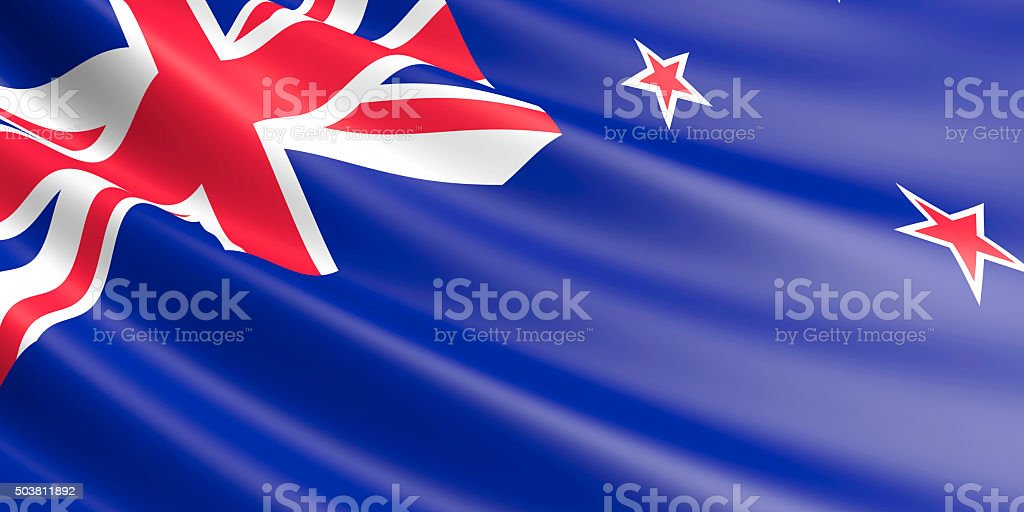 Flag of New Zealand waving in the wind. royalty-free stock vector art