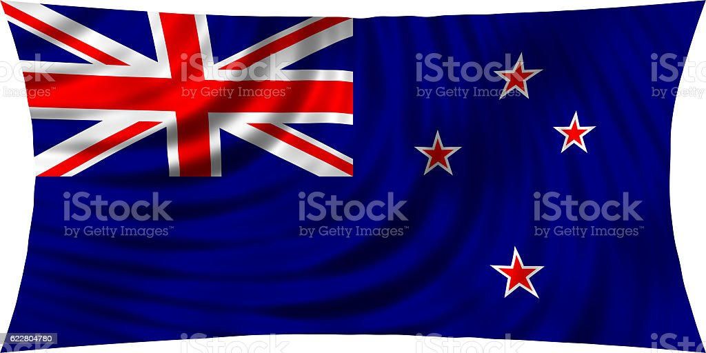 Flag of New Zealand waving in wind isolated on white stock photo