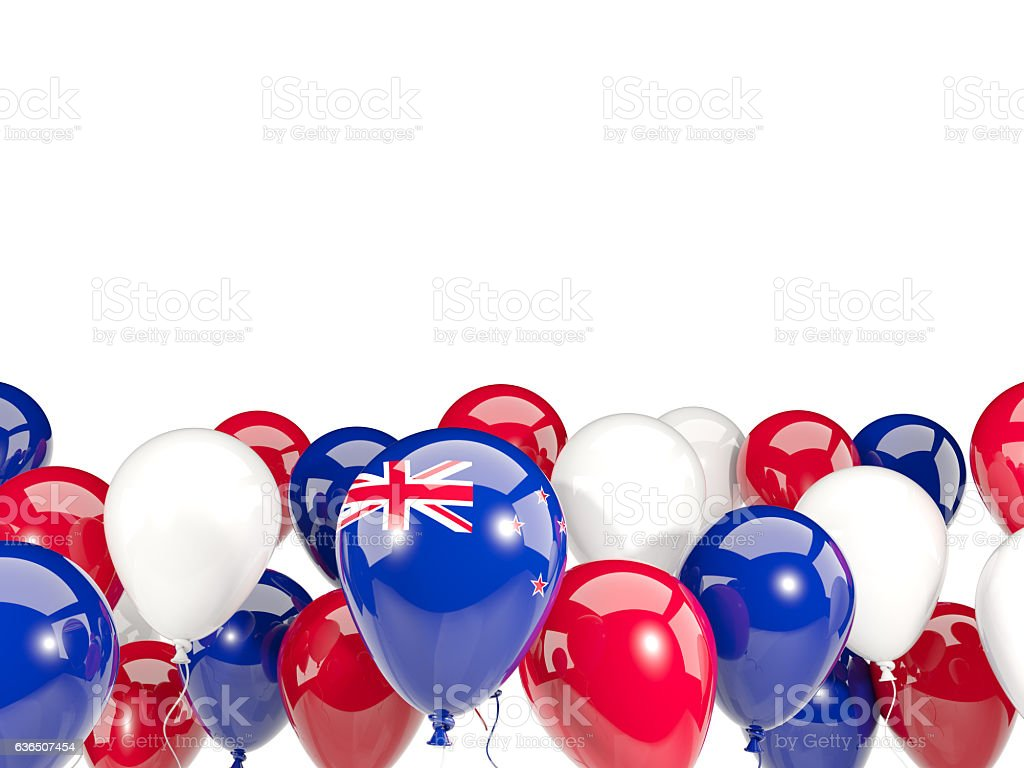 Flag of new zealand with balloons stock photo