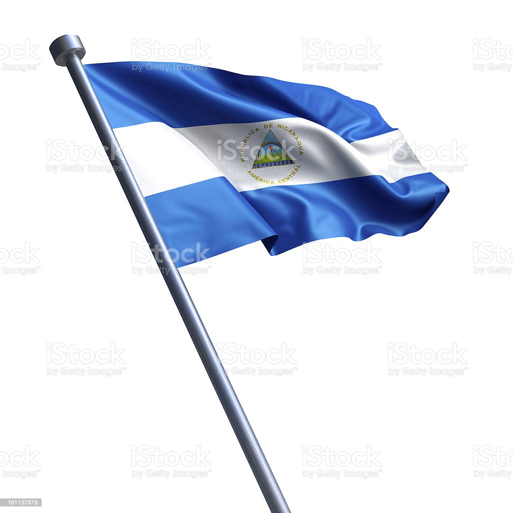 Flag of Nicaragua isolated on white stock photo