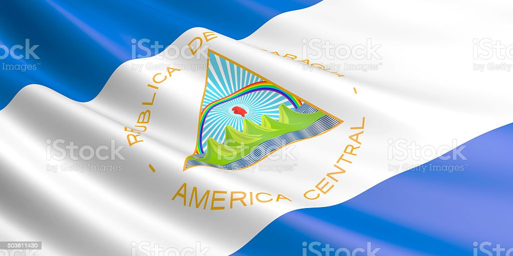 Flag of Nicaragua waving in the wind. royalty-free stock vector art