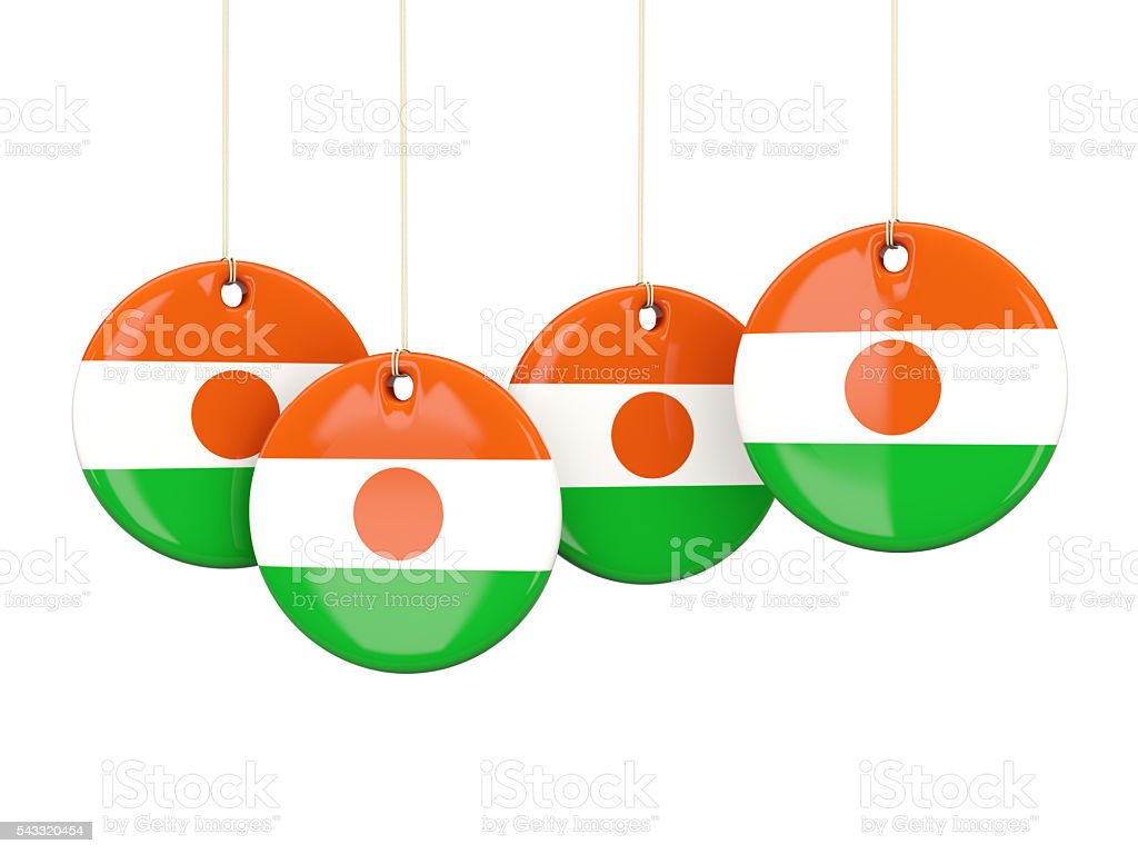 Flag of niger, round labels stock photo