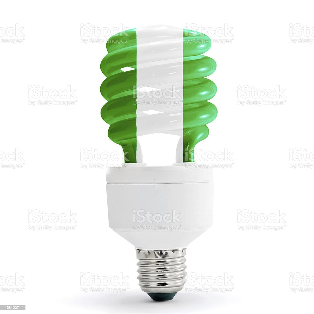 Flag Of Nigeria On Bulb royalty-free stock photo